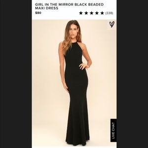 Lulu's Black Beaded Long, Formal Dress